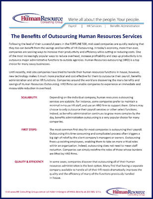 Benefits of Outsourcing cover