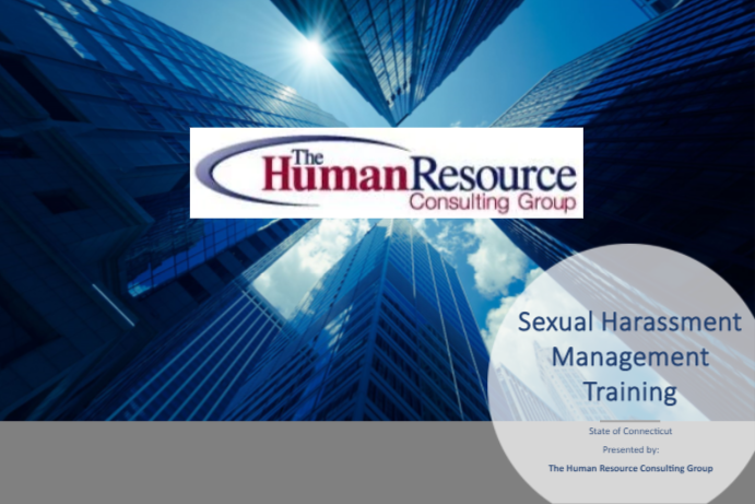Connecticut Sexual Harassment Management Training presented by Human Resource Consulting Group cover